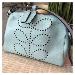 Orla Kiely Leather Stem Punched bag in Cloud.
